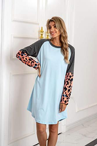 QSDM Camisetas y Blusas para Mujer Sudaderas de Mujer Tops Vestido de suéter de Costura Suelta con Cuello...