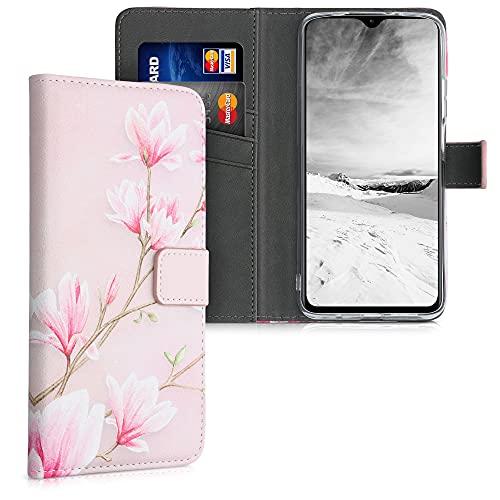 kwmobile Carcasa Compatible con Xiaomi Redmi 9T - Funda de Cuero sintético Magnolias - con Tarjetero