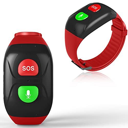 TTSLVS Reloj Inteligente 4G para Personas Mayores, Pulsera SOS, rastreador GPS, Llamada de Emergencia SOS, ubicación GPS, teléfono, Reloj Inteligente para teléfonos Android e iOS,Rojo