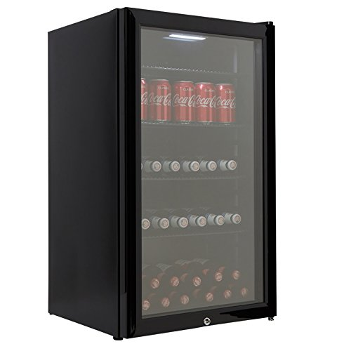 Cookology CBC98BK Undercounter Drinks Fridge | Glass Door Wine & Beverage Cooler