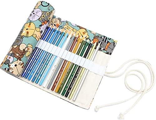 DFGBXCAW Lienzo Envoltorio para lápices Estuche para lápices portátil Tejido Hecho a Mano Organizador de Soporte para Rollo de lápiz con 48 Ranuras (Reloj Rosa)