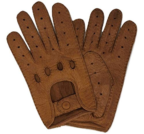 Weikert-Handschuhe - Exklusive Auto Lederhandschuhe aus Peccary, ungefüttert, Autofahrerhandschuhe mit Finger, handgenäht,Lederhandschuhe Pekari, Motorradhandschuhe, Herren und Damen (10, Camel)