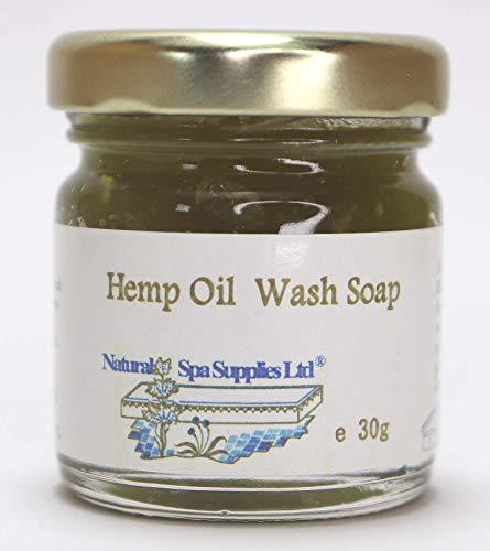 Savon pour le visage et le corps - Savon à l'huile de chanvre naturelle - Pour peaux sensibles, allergiques, acné et sujettes à des problèmes, en pot en verre - 30 g