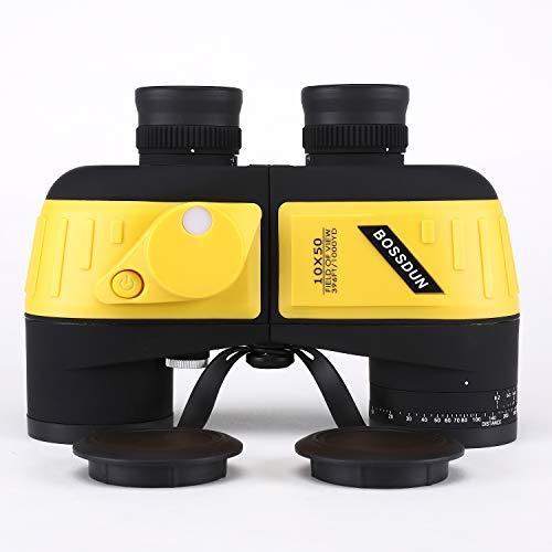 Marinos 10X50 Prismaticos,con Vision Nocturna Telémetro Brújula IPX7 100{954ede2e8a2909b472a65bd3951f527d2e8d50be9a1fd2c23a20d6fc0b7bcf5f} Impermeable BAK4 Prisma Binoculares por Caza Marina, Pesca, Observación de Aves para Adultos Niños