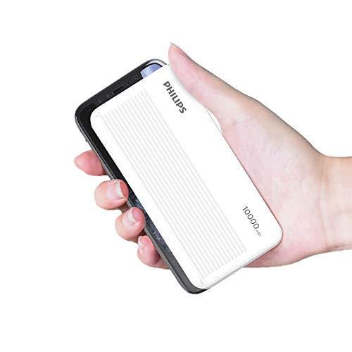 Philips(フィリップス) 【5v 2a モバイルバッテリー 10000mah軽量 バッテリー 携帯バッテリー 持ち運び便利 2台同時充電でき】モバイルバッテリー 大容量 軽量 小型 薄型 iPhone対応 DLP7719N
