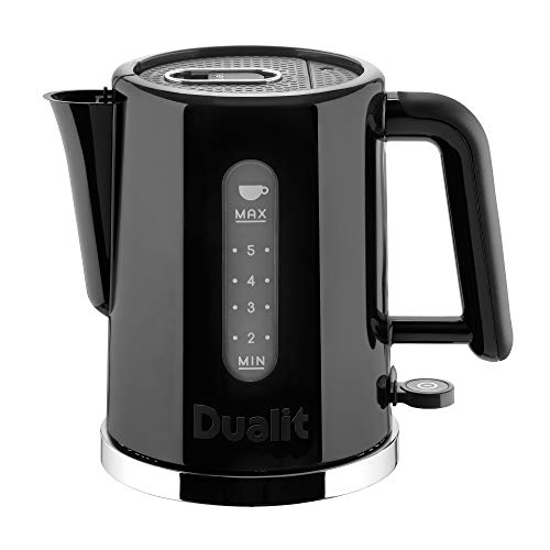 Dualit Studio Kettle | 1,5 l 2,4 kW Krug Wasserkocher in schwarz mit poliertem Rand | Doppel-Messfenster | schnell kochender BPA-freier Wasserkocher | patentierte Sure Pour Technologie