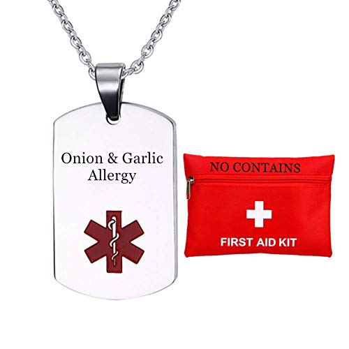 Free Personalized Custom Medical Alert Necklace Tag,Custom Onion Garlic Allergy Awareness Nameplate Pendant for Kids Men Women,Med ID Jewelry for Emergency