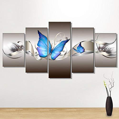 FBIRTY Cuadro sobre Lienzo Cuadro Lienzo Sin Marco Cinco Mariposa Azul Salón Pintura Decorativa
