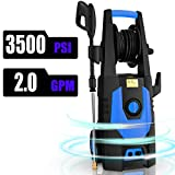 CHAKOR 3500PSI Pressure Washer Electric 2.0GPM 1800W High Power Washer Machine Best for Multi Function with 4 Adjustable Nozzle, Spray Gun, Hose Reel, Brush-Blue
