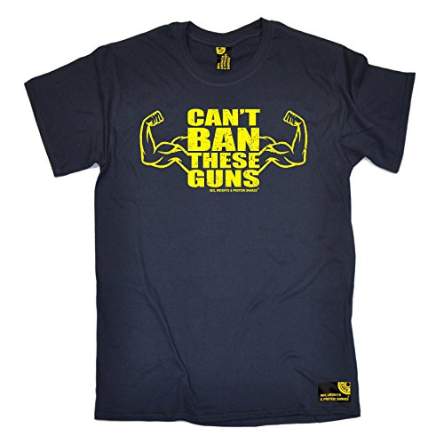 Sex Weights And Protein Shakes SWPS - Men's Can't Ban These Guns T-Shirt tee Training Workout Gym Fitness Christmas Birthday Gift MMA Present top for him Navy