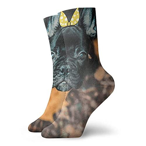 Socks Calcetines Boston-Terrier-With-Leaf Calcetines cortos unisex para adultos que absorben la humedad atléticos para correr, fitness, viajes, trabajo