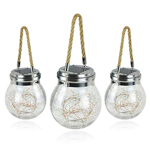 COMY Solar Mason Jar Light 3 Pack Hanging Solar Lights IP65 Waterproof Glass Jar Fairy Lights Lanterns for Handle Great Outdoor Lawn Décor for Patio Garden