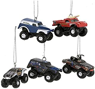Kurt Adler Set of 5 Monster Jam 3-Dimensional Mini Truck Christmas Ornaments