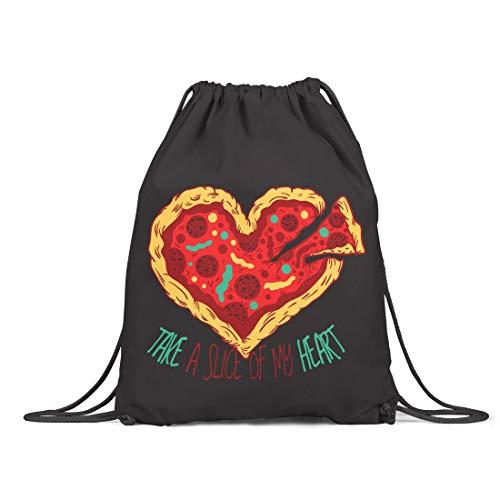 BLAK TEE Pizza is The Love Organic Cotton Drawstring Gym Bag Black