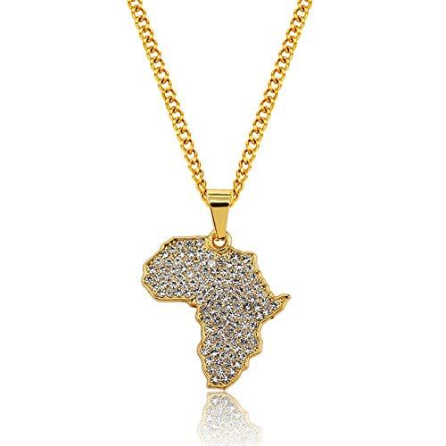 Halskette mit Afrika Anhänger Iced Out Damen Herren/Hip Hop Kette/Afrikanische Kette