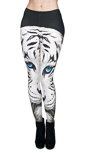 Queenshiny® leggings cintura alta para mujer (Talla única, Tigre)
