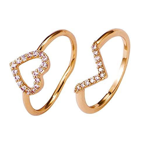 SolaXii Anillo para mujer, único, creativo y con forma de corazón, geométrico, apilable, 2 juegos de anillos dorados y diamantes de cristal, combinación, forma de corazón, apilable, c, Talla única