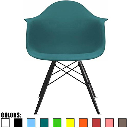 2xhome Mid Century Modern Arm Chair with Black Wood Legs, Blue Teal