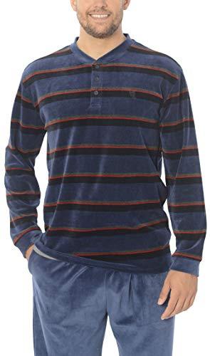 El Búho Nocturno - Herren gestreifter Zweiteiliger Pyjama mit Langen Ärmeln | Schlafanzug Winter, Nachtwäsche für Männer - Samt, 80% Baumw. 20% Pol. - Größe L - Marine, Blau und Rot