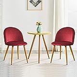 OFCASA Set di 2 Sedie da Pranzo in Velluto Sedie da Cucina Imbottite con Gambe in Metallo Moderne Mobili Rosso
