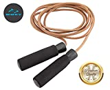 HUEY Sport Leather Jump Rope Adjustable Skipping Rope for Speed Quiet Training Boxing MMA Cardio...