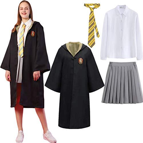 Kajikaji Magic Academy Cloak Costume Set Niños Adultos Hembra Disfraz Capa Fan Artículo Conjunto de Atuendo Toga mágica de Mago Halloween Carnaval Cosplay Disfraz Navidad Fiesta Mascarada Accesorios