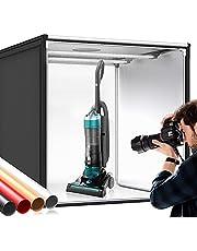 Caja de fotos SAMTIAN caja de luz fotográfica de 31.9 x 31.9 x 31.9in, 126 luces LED para estudio de fotografía de mesa con 4 papel de fondo (negro, blanco, rojo y naranja) para fotografía
