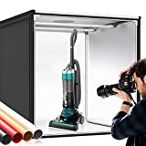 Photo Box, SAMTIAN Photo Light Box 32x32x32 Inches 126 LED Light Photo Studio Shooting Tent Tabletop Photography Lighting Kit with 4 Background Paper (Black,White, Red and Orange) for Photography