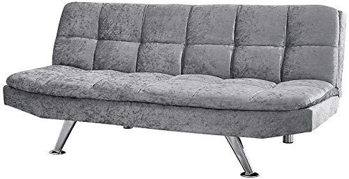 Prensado tela de terciopelo de 3 plazas sofá cama, sillón reclinable moderno con patas cromadas,A