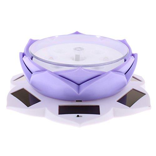 ソーラー駆動 蓮の花形 時計ディスプレイ 回転式ディスプレイ ターンテーブル 8色選ぶ - 紫