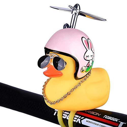 Auoker Bike Bell, Air Bike Bicycle Horn with LED Lights, Cute Cartoon Yellow Little Duck Shape, Propeller Handlebar Bike Squeeze Horns for Toddler Children & Adults