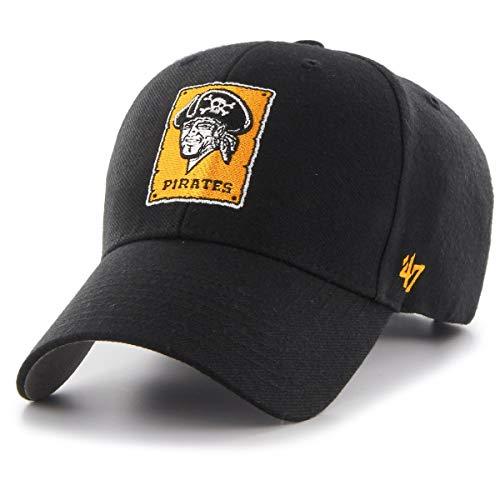 47 Brand Pittsburgh Pirates Cooperstown MVP Adjustable MLB Cap Schwarz, One Size