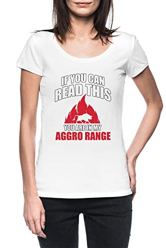 If You Can Read This You Are In My Aggro Range Mujer Blanco Camiseta Manga Corta Women's White T-Shirt