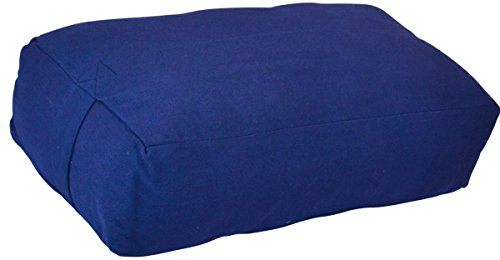 YogaAccessories Supportive Rectangular Cotton Yoga Bolster (Blue)
