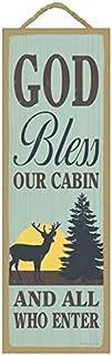 "SJT ENTERPRISES, INC. God Bless Our Cabin and All who Enter (Deer & Sun Image) Lodge/Cabin Primitive Wood Plaque Sign, 5"" ..."