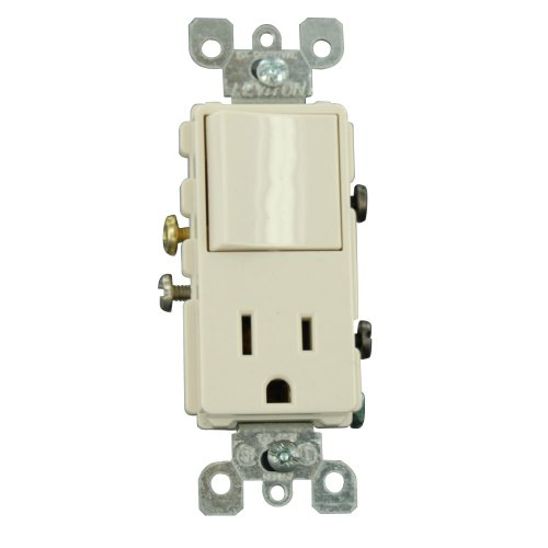 Leviton 5625-TSP 15 Amp, 125 Volt, Combination Decora Switch and Receptacle, New Rocker Style, Grounding, Light Almond