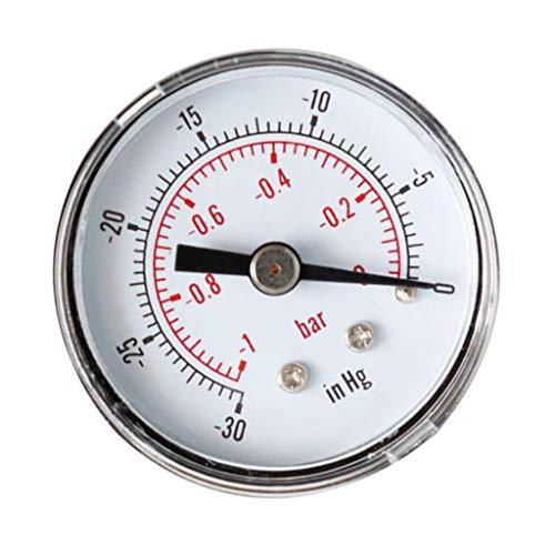 Bonarty 1/8'BSPT 40 Mm Manómetro de Presión de Aire Neumático -30-0in Hg -1-0bar Atrás Trasera
