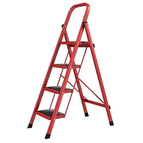 Escalera 4-Step, Heavy Duty de Acero, Plegable portátil Paso Stool, Cocina Paso con Antideslizante de Caucho Mat, escaleras de Tijera for el hogar (Color : Red)
