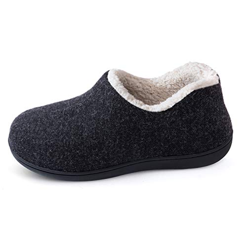 ULTRAIDEAS Women's Cozy Memory Foam Closed Back Slippers with Warm Fleece Lining, Wool-Like Blend Cotton House Shoes with Anti-Slip Indoor Outdoor Rubber Sole (Black,Size 9)