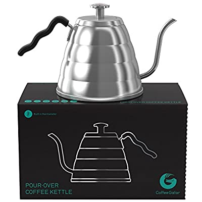 Gooseneck Kettle - Coffee Gator Pour Over Kettle - Precision-Flow Spout and Thermometer - Barista-Standard Hand Drip Tea and Coffee Kettle for Induction and all Stovetops - 40oz