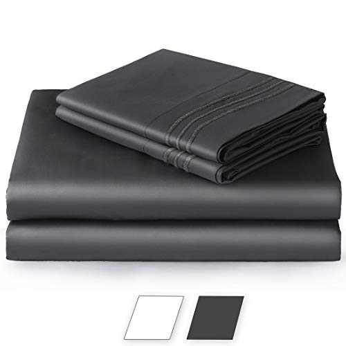 Balichun 100% Pure Natural Cotton Hotel Luxury Super Soft 1000 Thread Count Premium Bed Sheets Set,12-Inch Deep Pockets, Hypoallergenic, Wrinkle & Fade Resistant Bedding Set-4 Piece (Darkgrey, King)