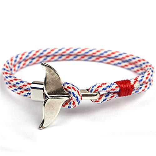 EXINOX Nautisches Wal-Armband, Mann Frau, Sea Life, Farbe Silber (Blau, Rot & Weiß 2)