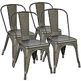Yaheetech 4x Esszimmerstuhl Wohnzimmerstuhl Küchenstuhl Metallstuhl stapelbar Sitzgruppe mit hoher Rückenlehne 45 cm bis 155kg belastbar für Garten Balkon Wiese