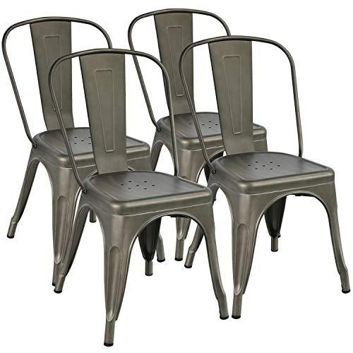 Yaheetech 4 Set Esszimmerstuhl Bistrohstuhl Metallstuhl Stapelbar Küchenstuhl mit hoher Rückenlehne 155kg belastbar für Garten und Balkon