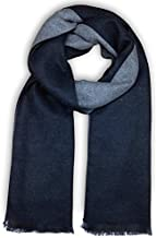 Bleu Nero Luxurious Winter Scarf for Men and Women – Large Selection of Unique Large Herringbone + Border Design Scarves – Super Soft Premium Cashmere Feel Black Grey Two-sided