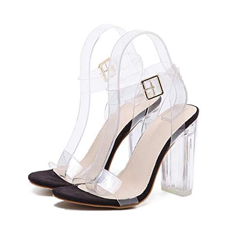 Sandalias De Tacón Alto para Mujer Bombas Zapatillas Transparentes De Punta Abierta Estilete De Boda para Mujer