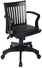 Office Star OSP Home Furnishings Wood Bankers Desk Chair with Vinyl Seat, Black