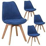 Lot de 4 chaises Lars Design scandinave Tissu Pieds Bois Massif (Bleu)