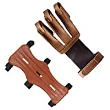 Techson Archery Arm Guards and Finger Gloves, Protective Leather Bow Range with 3 Strap Buckles, Shooting Hunting Arrow Bow Gear (Brown)