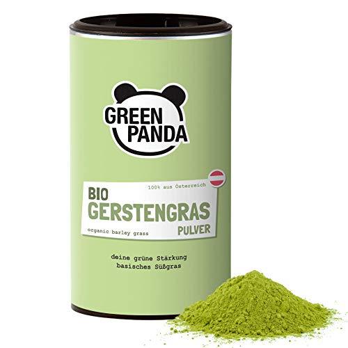 Polvere d'erba d'orzo Bio proveniente dall'erba d'orzo giovane, macinata finemente per succo d'erba d'orzo, da una coltivazione austriaca biologica, testata e certificata, 125 g di Green Panda
